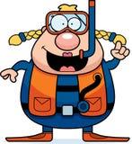 Cartoon Scuba Diver Idea. A cartoon scuba diver with an idea Stock Images
