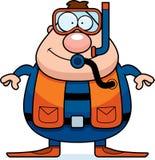 Cartoon Scuba Diver Smiling. A cartoon scuba diver standing and smiling Royalty Free Stock Photos