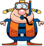 Cartoon Scuba Diver Smiling. A cartoon scuba diver standing and smiling Stock Photos