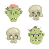 Cartoon scull and zombies mask set. Royalty Free Stock Image