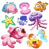 Cartoon sea animal illusration collection stock illustration