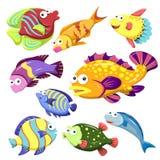 Cartoon sea animal illusration collection Stock Images