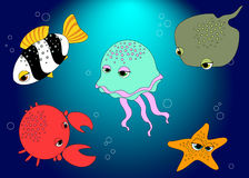 Cartoon sea animals Royalty Free Stock Photography