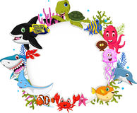 Cartoon sea animals with blank sign for you design Stock Photography