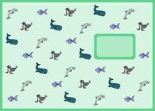Cartoon sea animals exercise book cover. Exercise book cover with cartoon sea animals vector illustration