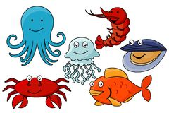 Cartoon sea animals. Royalty Free Stock Images