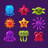 Cartoon Sea Animals, Marine Life Colorful Vector Royalty Free Stock Photos