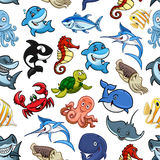 Cartoon sea animals, ocean fish seamless pattern. Sea animals and cartoon ocean fishes seamless pattern of vector whale, shark and dolphin, octopus and squid Stock Photos