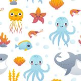 Cartoon sea animals pattern. Vector illustration of funny cartoon jellyfish, starfish, octopus, shrimp, shark and fish. Seamless pattern with sea animals Royalty Free Stock Image