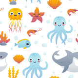 Cartoon sea animals pattern. Vector illustration of funny cartoon jellyfish, starfish, octopus, shrimp, shark and fish. Seamless pattern with sea animals Stock Image