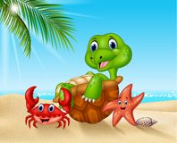 Cartoon sea animals relaxing on the beach vector illustration