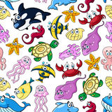 Cartoon sea animals seamless pattern Royalty Free Stock Photos