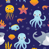 Cartoon sea animals set. Vector illustration of funny cartoon jellyfish, starfish, octopus, shrimp, shark and fish. Set of sea animals Royalty Free Stock Images