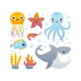 Cartoon sea animals set. Vector illustration of funny cartoon jellyfish, starfish, octopus, shrimp, shark and fish. Set of sea animals Stock Image