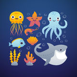 Cartoon sea animals set. Vector illustration of funny cartoon jellyfish, starfish, octopus, shrimp, shark and fish. Set of sea animals in a deep blue water Stock Photos