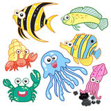 Cartoon sea animals set with white background Royalty Free Stock Image