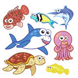 Cartoon sea animals set with white background Royalty Free Stock Photography