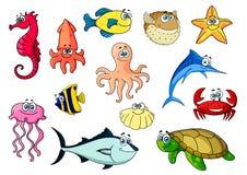 Cartoon sea animals for underwater wildlife design Stock Images