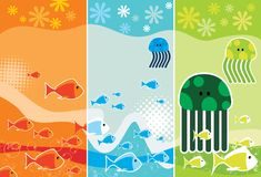 Cartoon sea animals vector Stock Images