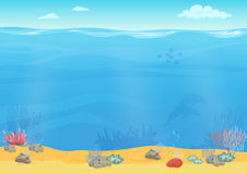 Cartoon sea bottom background for game design. Underwater empty seamless landscape stock illustration
