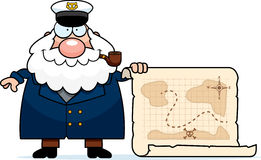 Cartoon Sea Captain Treasure Map Royalty Free Stock Image