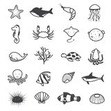 Cartoon Sea Creature Icons Collection. Cute sea animals cartoon in black and white Royalty Free Stock Photos