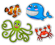 Cartoon sea creatures. Collection of funny cartoon sea creatures Royalty Free Stock Photos