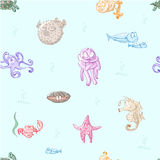 Cartoon sea creatures. Cute cartoon sea creatures set. Sea fishes and animals collection. Seamless pattern. Vector illustration Vector Illustration