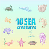 Cartoon sea creatures. Cute cartoon sea creatures set. Sea fishes and animals collection. Vector illustration Royalty Free Illustration