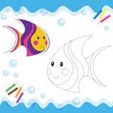 Cartoon sea fish Stock Photos