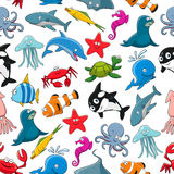 Cartoon sea fish and ocean animals vector pattern. Seamless pattern of vector cartoon sea fish and ocean animals lobster crab, octopus, stingray and penguin Royalty Free Stock Photo