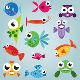 Cartoon sea fish set. Funny comic fishes, simple fishes Royalty Free Stock Photo