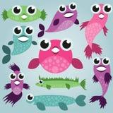 Cartoon sea fish set Royalty Free Stock Photos