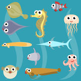 Cartoon sea fish set. Seahorse Catfish Sheatfish Spotted puffer Jellyfish Octopus Perch Flounder Snake-head fish  Moon fish Scate Ray Swordfish, vector Stock Image