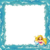 Cartoon sea frame with mermaid Stock Photo