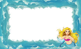 Cartoon sea frame with mermaid Stock Image