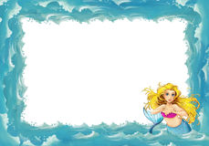 Cartoon sea frame with mermaid Royalty Free Stock Photo