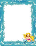 Cartoon sea frame with mermaid Stock Images