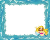 Cartoon sea frame with mermaid Royalty Free Stock Photography