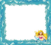 Cartoon sea frame with mermaid Stock Photography