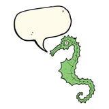 Cartoon sea horse with speech bubble Stock Photo