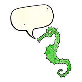 Cartoon sea horse with speech bubble Royalty Free Stock Images