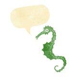 Cartoon sea horse with speech bubble Royalty Free Stock Photo