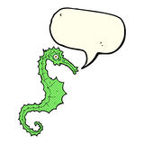 Cartoon sea horse with speech bubble Stock Images