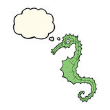 Cartoon sea horse with thought bubble Royalty Free Stock Photography