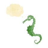 Cartoon sea horse with thought bubble Royalty Free Stock Photo