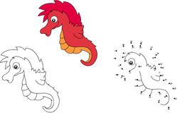 Cartoon sea horse. Vector illustration. Coloring and dot to dot Stock Photography