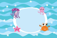 Cartoon sea life frame background stock illustration