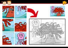Cartoon sea life jigsaw puzzle game Royalty Free Stock Photos