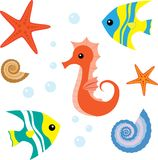 Cartoon sea life set 1 Stock Photos